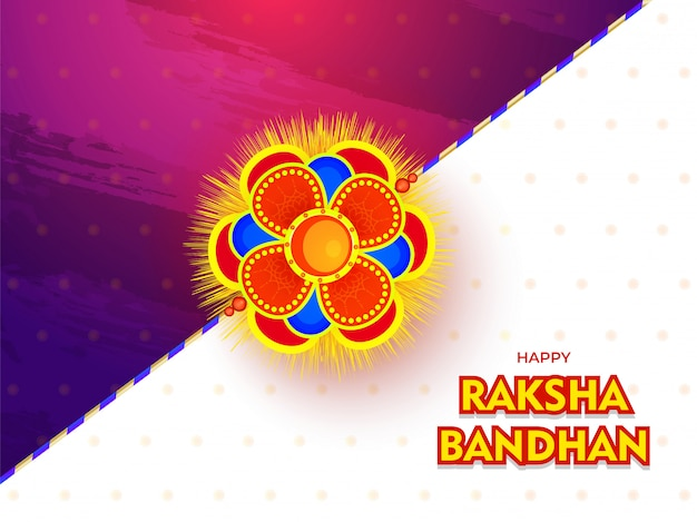 Happy raksha bandhan festival card or poster design with beautiful rakhi (wristband) on glossy abstract background.
