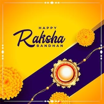 Felice festa di raksha bandhan saluto con fiori di calendula e design rakhi