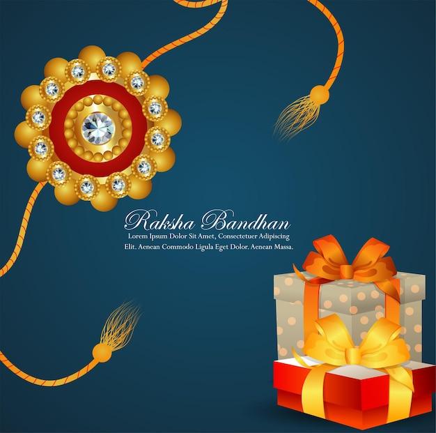 Happy raksha bandhan festival of india celebration greeting card with crystal and golden rakhi