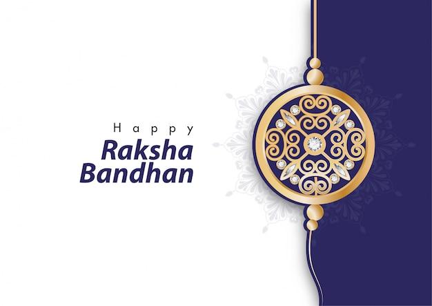 Happy raksha bandhan festival with elegant rakhi (wristband)