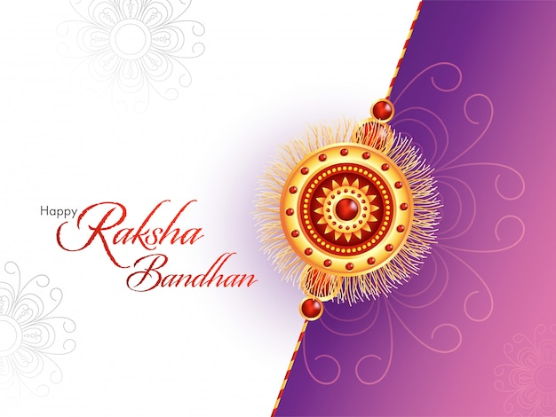 Happy raksha bandhan font with beautiful rakhi (wristband) on white and purple floral background.