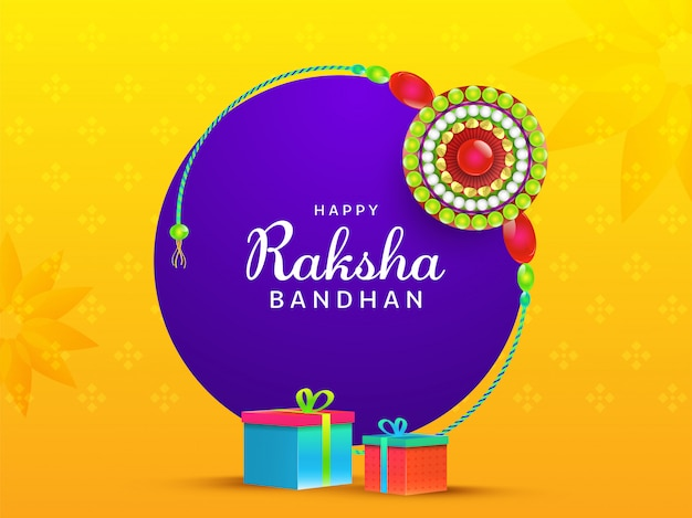 Happy raksha bandhan font with round pearl rakhi (wristband) and gift boxes on yellow and purple background.
