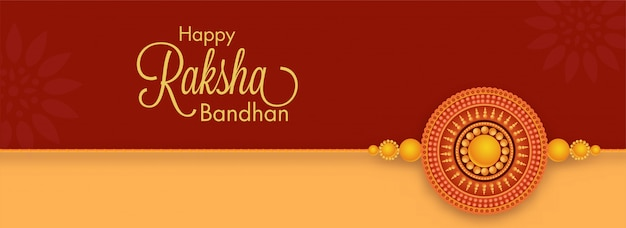 Happy raksha bandhan font with round shape pearl rakhi on brown red and yellow background.