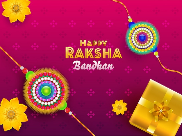 Happy raksha bandhan font with top view of glossy gift box and flower rakhis on pink background.