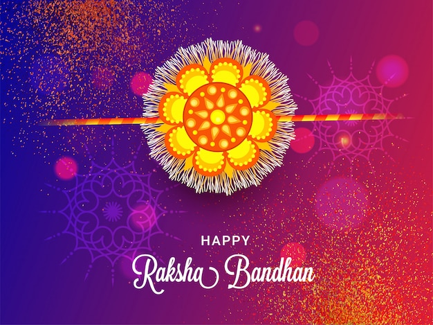 Happy raksha bandhan greeting card design with beautiful rakhi (wristband) on abstract glitter bokeh background.