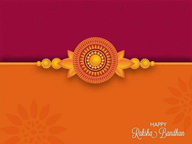 Happy raksha bandhan greeting card with beautiful pearl rakhi on dark pink and orange background.