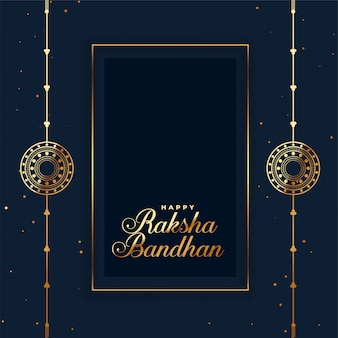 Happy raksha bandhan indian festival card with rakhi