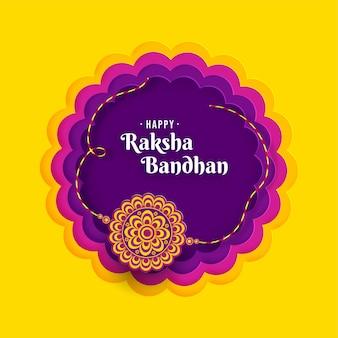 Счастливый ракшабандхан индийский фестиваль празднование вырезки из бумаги концептуальный дизайн карты premium векторы