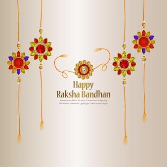 Happy raksha bandhan indian festival greeting card with creative rakhi on white background
