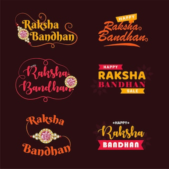 Happy raksha bandhan. indian festival of love and care vector typographic emblems, logo or badges.