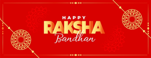 Happy raksha bandhan red traditional banner