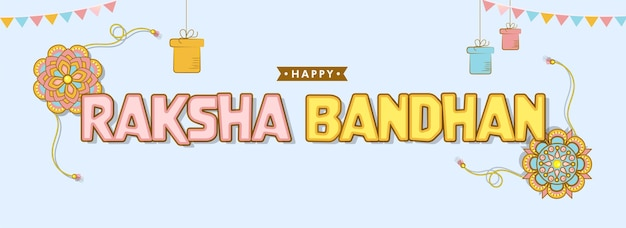 Happy raksha bandhan text with floral rakhis, gift boxes hang and bunting flags on blue background. header or banner design.