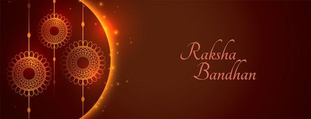 Happy raksha bandhan wide banner greeting shiny