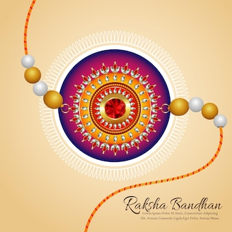 Happy raksha bandhan with crystal and gold rakhi on creative background