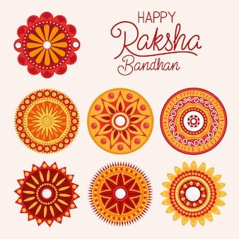 オレンジ色の曼荼羅と幸せなラクシャバンダン