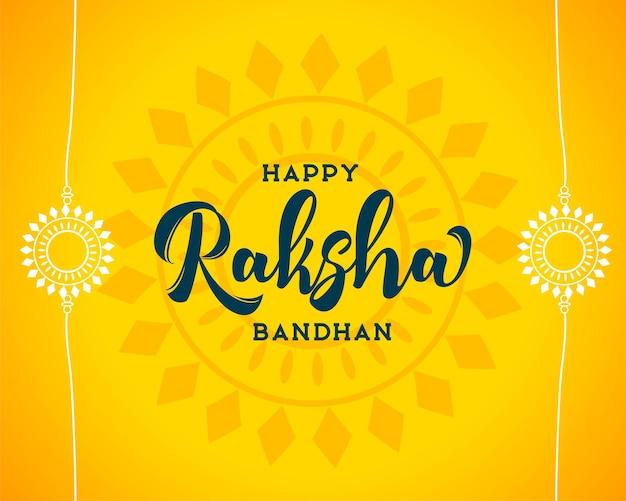 Felice raksha bandhan sfondo giallo con design rakhi