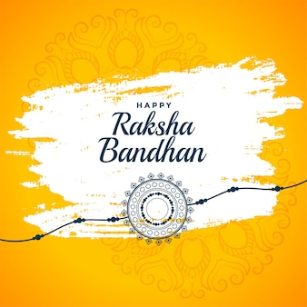 Happy raksha bandhan yellow greeting background