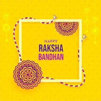 Happy raksha bandhan yellow greeting card with decorated flat rakhi