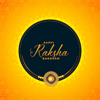 Happy raksha bandhan yellow wishes card