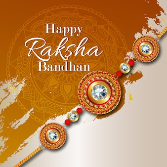 Happy raksha bandhanのお祝いのためのラッキーカードデザイン
