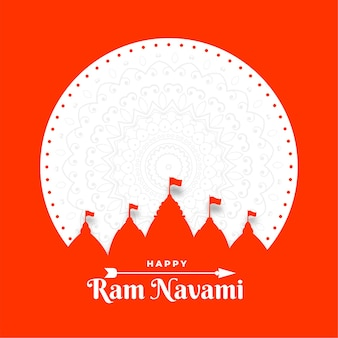 Happy ram navami festival card in stile carta piatta