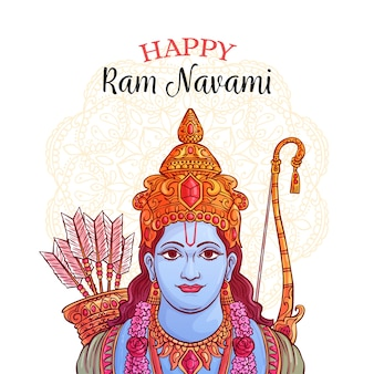 Happy ram navami hand drawn