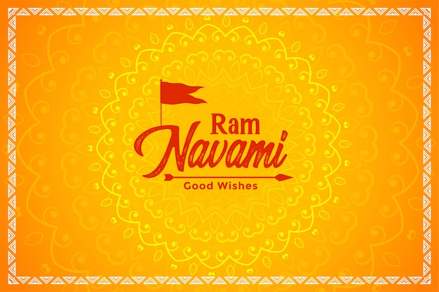 Happy ram navami yellow festival card