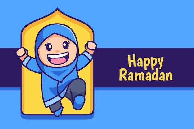 Happy ramadan cartoon muslim hijab girl jump