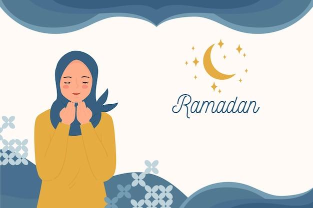 Счастливый рамадан - ид приветствие баннер с молитвенной женщиной в хиджабе