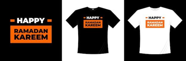幸せなラマダンイスラムタイポグラフィtシャツのデザイン