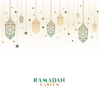 Happy ramadan kareem decorative islamic lamps background