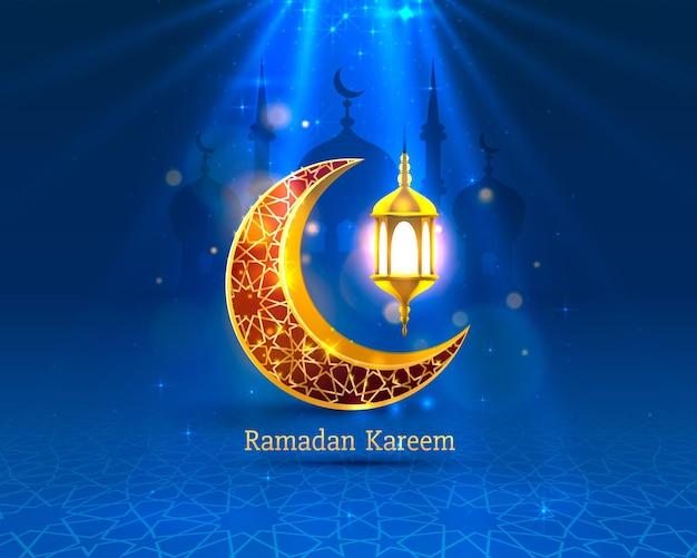 Счастливый рамадан карим поздравительная открытка с полумесяцем и лампой