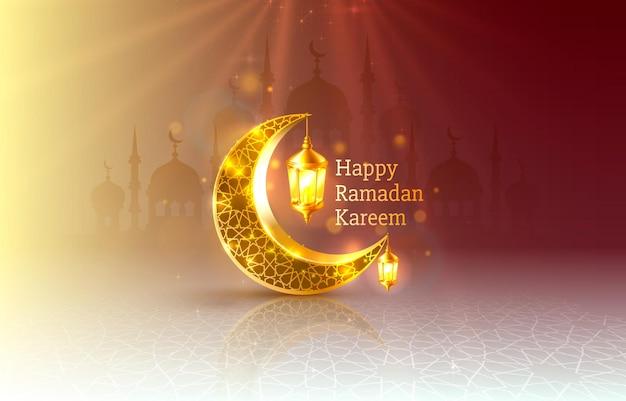 Счастливый рамадан карим поздравительная открытка с полумесяцем и лампами