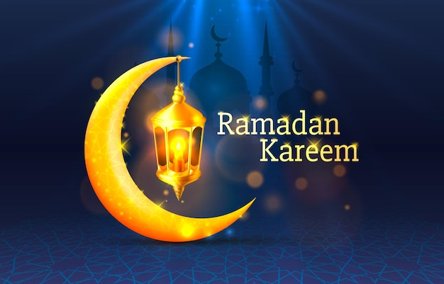 Happy ramadan kareem greeting card with crescent moon and lamp