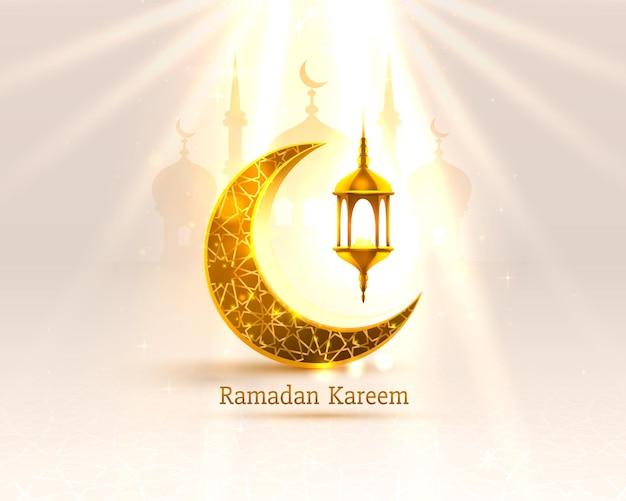 Happy ramadan kareem greeting card with crescent moon and lamps Premium Vector