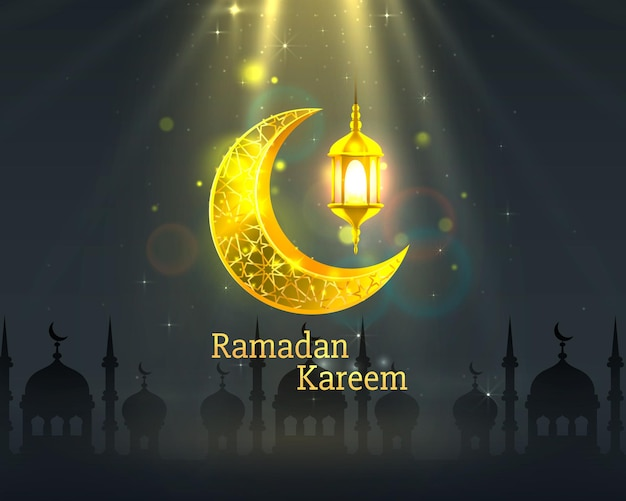 Happy ramadan kareem greeting card with crescent moon and lamps