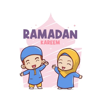 Happy ramadan kareem greeting card with two moslem kids