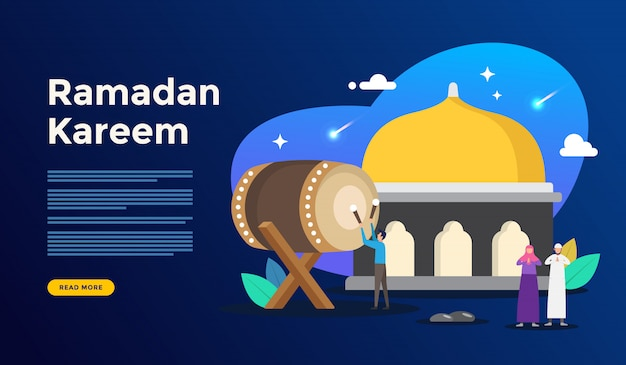 Happy ramadan kareem greeting concept with people character for web landing page template