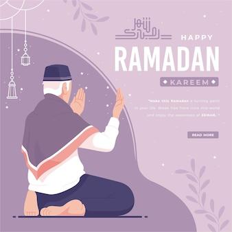Happy ramadan kareem illustration background Premium Vector