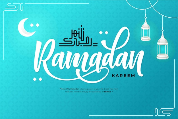 Happy ramadan kareem lettering background