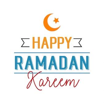 Happy ramadan kareem lettering with ribbon