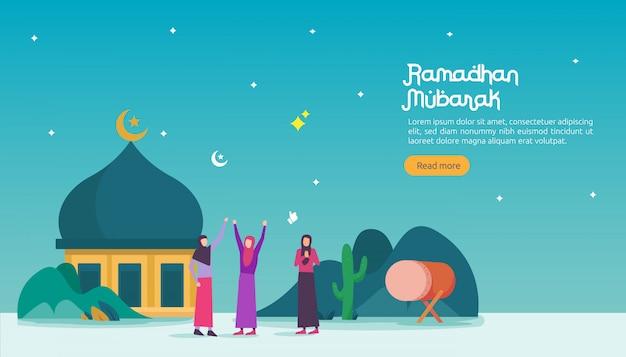 Счастливое знамя рамадана мубарака