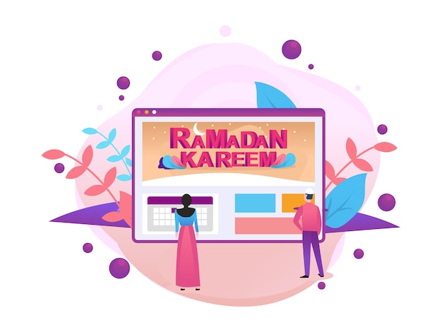 Happy ramadan mubarak greeting concept with people character
