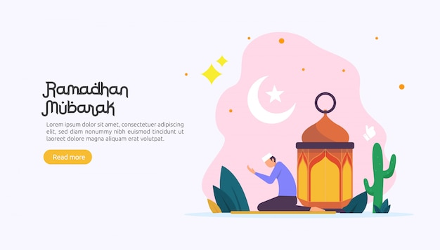 Happy ramadan mubarak greeting concept with people character