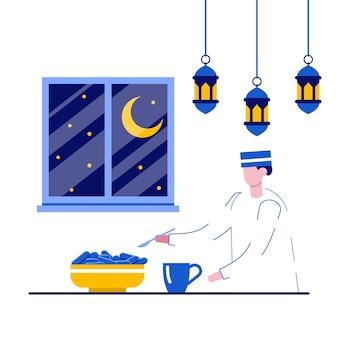 Happy ramadan mubarak greeting concept with tiny people