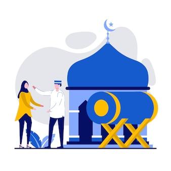 Счастливый рамадан мубарак приветствие концепции с крошечными людьми