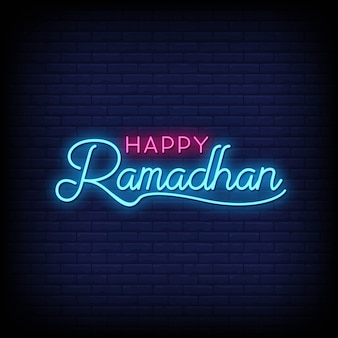 Happy ramadhan neon signs стиль текста