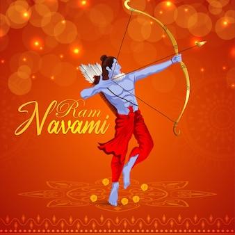 일러스트와 함께 행복 ramnavami 축하 인사말 카드