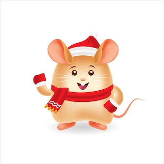 Happy rat with red cap and red scraf with isolated background
