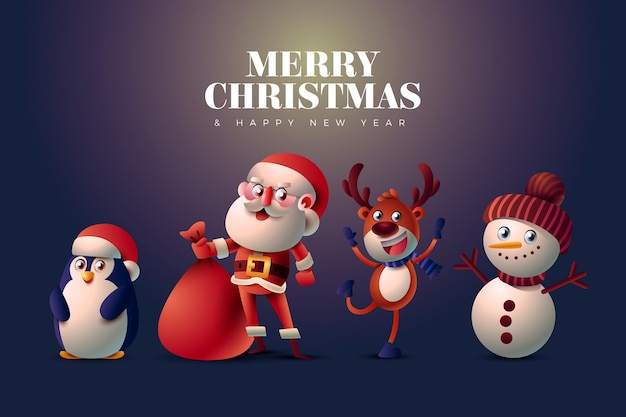 Happy realistic cartoon christmas characters